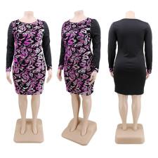 Plus Size 5XL Sequined Patchwork Mini Dress CYA-1351