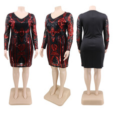 Plus Size 5XL Sexy Sequined Long Sleeve Party Dress CYA-1354