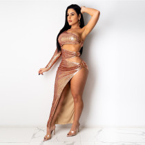 Sexy Shiny Sequins One Shoulder Hollow 2 Piece Skirt Sets CYA-8813