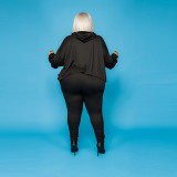 Plus Size 5XL Solid Hooded Long Sleeve 2 Piece Sets CYA-1386