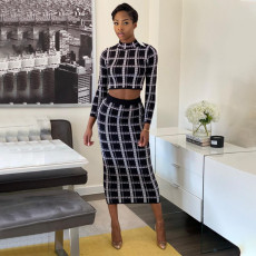 Plaid Print Long Sleeve Midi Skirt Two Piece Sets YF-9711