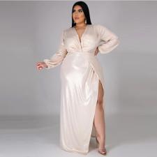 Plus Size Sexy V Neck High Waist Split Maxi Dress CYA-1350