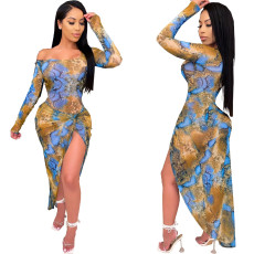Sexy Print Slim Long Sleeve Slit Dress YJF-8370