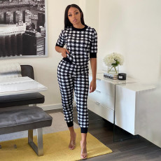 Houndstooth Print Short Sleeve Two Piece Pants Set YF-9707