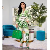 Green Printed Zipper And Pants Two Piece Set APLF-1101