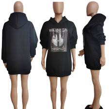 Black Fashion Printed Thicken Loose Hooded Sweatshirt Dress APLF-0901