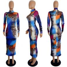 Sexy Leopard Long Sleeve Bodycon Long Dress LSL-6406