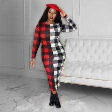 Plus Size Plaid Long Sleeve Maxi Dress SHE-7233