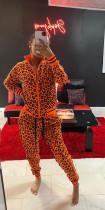 Zipper Orange Leopard Print Long Sleeve Sportswear Suit APLF-1010