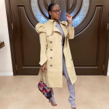 Trendy Puff Sleeve Double-breasted Lapel Trench Coat YD-8334