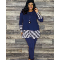 Plus Size Casual Stripe Splice Top And Leggings Pants Two Piece Set AWF-5825