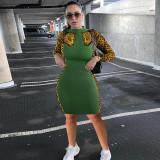 Sexy Leopard Print Long Sleeve Bodycon Dress YD-8337