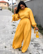 Solid Color Loose Pullover Top And Wide Leg Pants Two Piece Set APLF-1007
