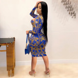 Sexy Printed Hollow Out Long Sleeve Bodycon Dress YD-8338
