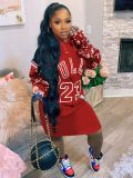 Plus Size 4XL Sequined Patchwork Hoodies Dress YFF-9717