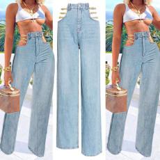 Sexy Denim Hollow Chain Straight Jeans SH-390008