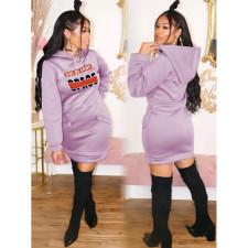 Casual Letter Print Hoodies Dress BLI-2201