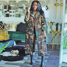Casual Camo Print Full Sleeve Sashes Long Trench Coat SH-390011