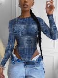 Sexy Printed Long Sleeve Bodycon Bodysuit YFS-3627