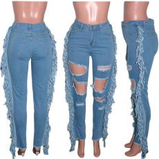 Denim Ripped Hole Tassel Jeans Pants SH-390018