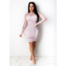 Sexy Mesh Patchwork Long Sleeve Bodycon Dress CHY-1301