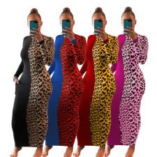 Leopard Patchwork Long Sleeve Slim Maxi Dress AIL-142