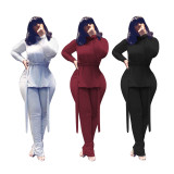 Casual High Neck Split Lace-Up Top And Ruched Pants Suit MOF-5198