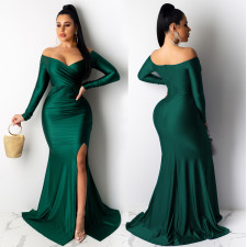 Sexy V Neck Off Shoulder Split Long Evening Dress AIL-143