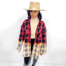 Casual Loose Long Sleeve Plaid Shirt Tops SH-390051