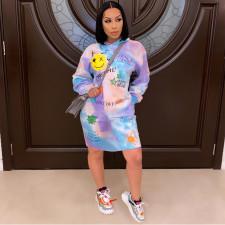 Plus Size Tie Dye Print Hoodies Dress SHE-7235