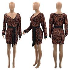 Long Sleeve Brown Sexy Print Dress SZF-6067