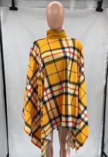 All-match Cloak Round Neck Plaid Print Casual Top SZF-6081