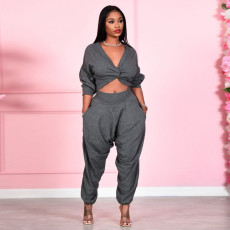 Sexy Solid V Neck Crop Top Pants Two Piece Sets SH-390047