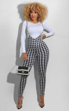 Houndstooth Plaid Long Sleeve Suspenders Pants 2 Piece Sets SFY-203