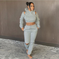 Casual Off Shoulder Hoodies Two Piece Sets SH-390003