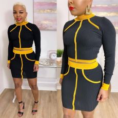 Sexy Ribbed Long Sleeve Mini Skirt Two Piece Sets YIS-522
