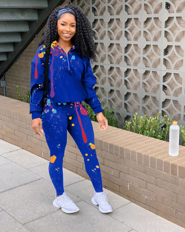 Ink Jet Printed Casual Two Piece Pants Set LM-8210