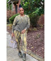 Tie Dye Long Sleeve Casual 2 Piece Pants Set RSN-782