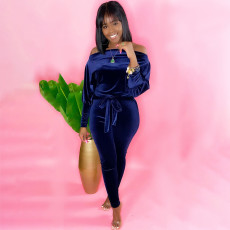 Sexy Velvet Off Shoulder Long Sleeve Sashes Jumpsuit YH-5198