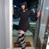 Black Sexy Puff Sleeve Mini Dress BGN-137