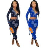 Sexy Letter Print Long Sleeve Crop Top And Pocket Pants Two Piece Set AWYF-702