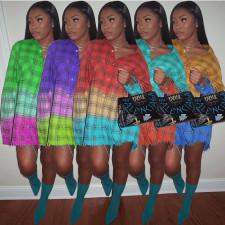 Casual Loose Long Sleeve Plaid Shirt Dress KSN-8063