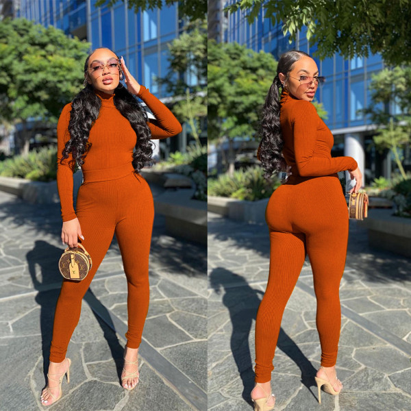 Plus Size Solid Ribbed Turtleneck Two Piece Pants Sets GS-1901