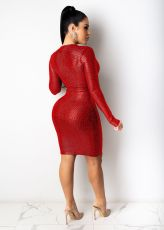 Sexy Slim Sequin V-neck Red Nightclub Dress LX-1112
