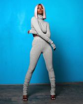 Fashion Casual High Collar Long Sleeve Top And Stacked Pants Set SIF-0030