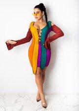 Sexy Fashion Contrast Color Split Long Sleeve Bandage Irregular Bodycon Dress YN-1065