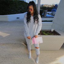 Solid Color Casual Fashion Hooded Sweatshirts And Pants Two Piece Set MIF-9032