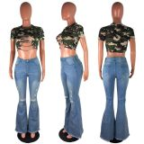Plus Size Fashion All-match Ripped High Waist Flared Jeans LX-5008