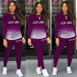 LUCKY LABEL Letter Print Gradient Two Piece Pants Set AWN-5121