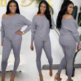 Casual Solid Long Sleeve Two Piece Pants Set AL-229